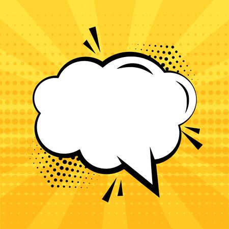 White empty speech bubble with halftone shadow on yellow background. Comic sound effects in pop art style. Vector illustration