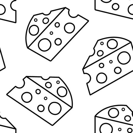 Seamless pattern with piece cheese isolated on white background, line art. Vector illustration  イラスト・ベクター素材