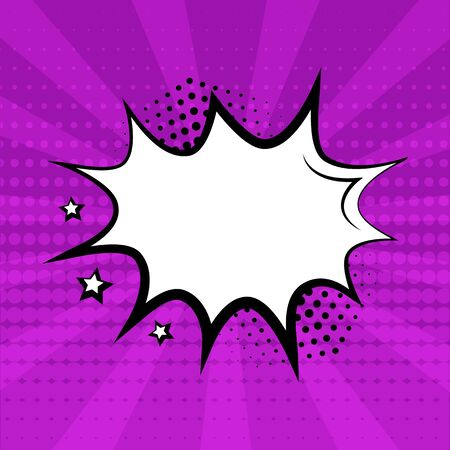 White empty speech bubble with stars and halftone shadow on purple background. Comic sound effects in pop art style. Vector illustration Çizim