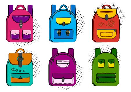 Set of colorful comic school backpacks with halftone shadow in pop art style. Vector illustration Çizim