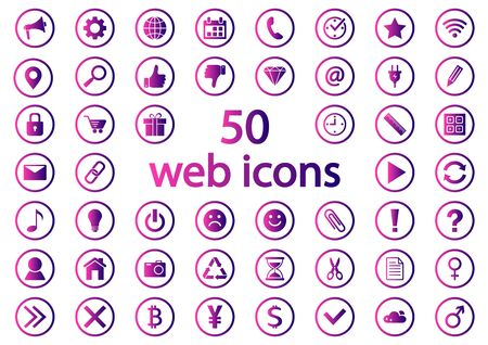 Colored set of round web icons, purple and pink gradient. Vector illustration