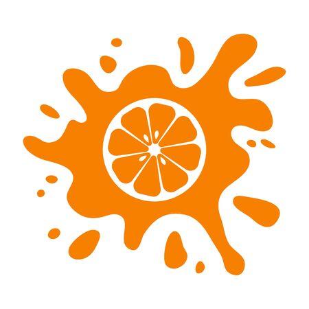 Orange fruit citrus, juice splash isolated on white background. Vector illustration