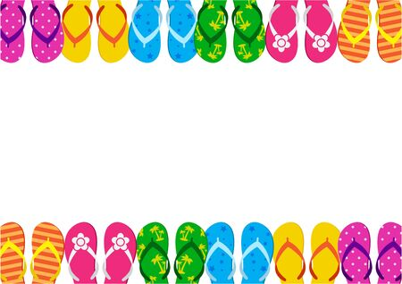 Summer funny background with bright colorful flip flop, foot wear. Space for your text. Vector illustration  イラスト・ベクター素材