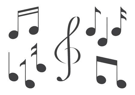 Set of music notes. Black silhouette. Vector illustration