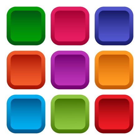 Colorful set of square empty buttons isolated on white background. Vector illustration