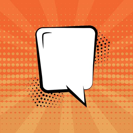 White empty speech bubble with halftone shadow on orange background. Comic sound effects in pop art style. Vector illustration