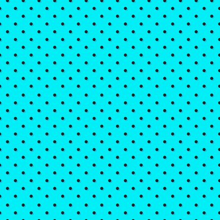 Polka dot seamless pattern, azure and black colors. Vector illustration