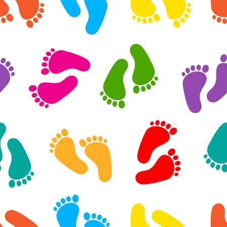 Abstract seamless pattern with colorful traces of human feet. Footprint isolated on white background. Vector illustration