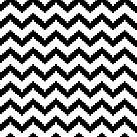 Decorative striped seamless pattern in zig zag, classic chevron print, black and white design. Vector illustration