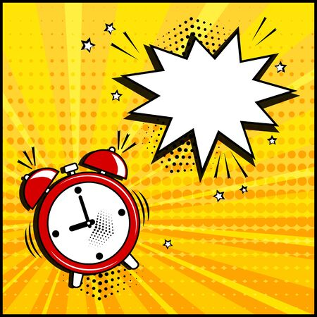 Empty white speech bubble and red alarm clock on yellow background. Comic sound effects in pop art style. Vector illustration