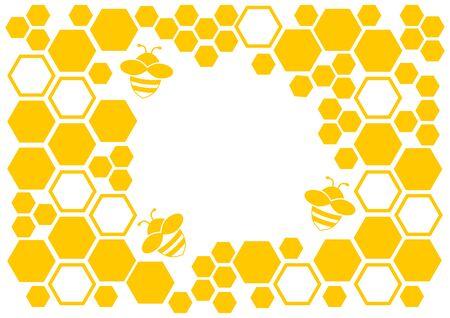 Fondo de miel, marco amarillo con panal y abeja, espacio para el texto. Ilustración vectorial Ilustración de vector