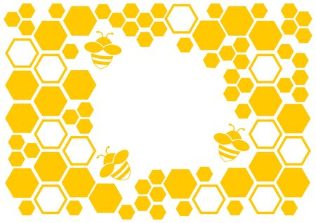 Honey background, yellow frame with honeycomb and bee, space for your text. Vector illustration