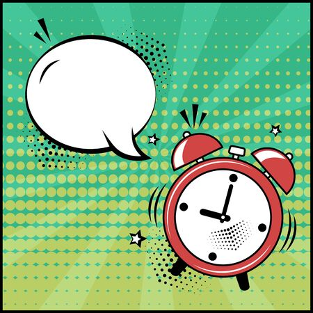 Empty white speech bubble and red alarm clock on green background. Comic sound effects in pop art style. Vector illustration