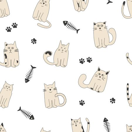 Seamless pattern with fish bone, paw track and cute cats with different emotions. Vector illustration