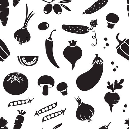 Seamless pattern with different vegetables, black and white design. Vector illustration