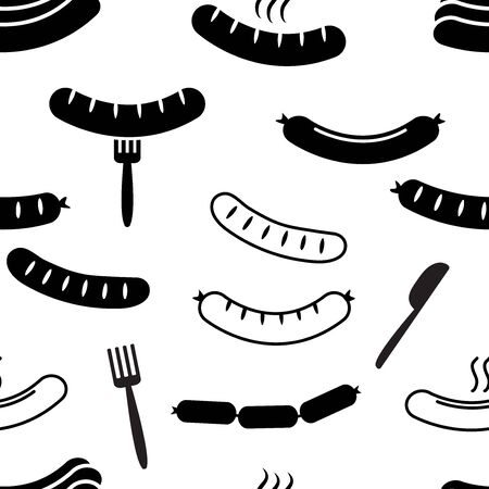 Food seamless pattern with barbecue sausage, fork ans knife. Black and white design. Vector illustration