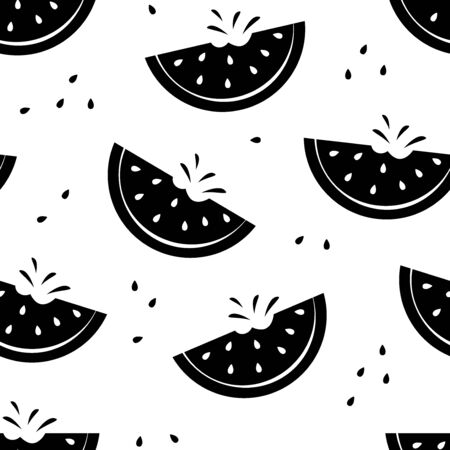 Summer seamless pattern with slice watermelons, black and white design. Vector illustration Çizim