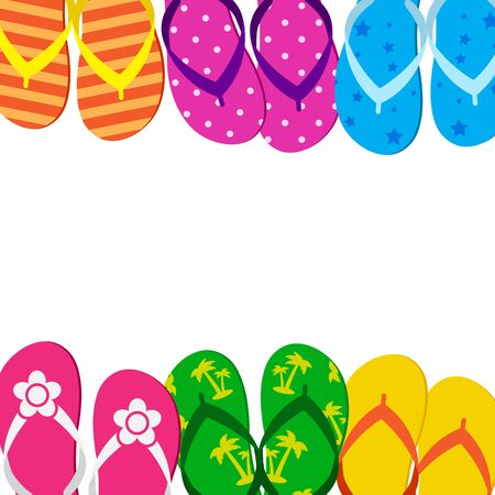 Summer funny background with bright colorful flip flop, foot wear. Space for your text. Vector illustration Çizim