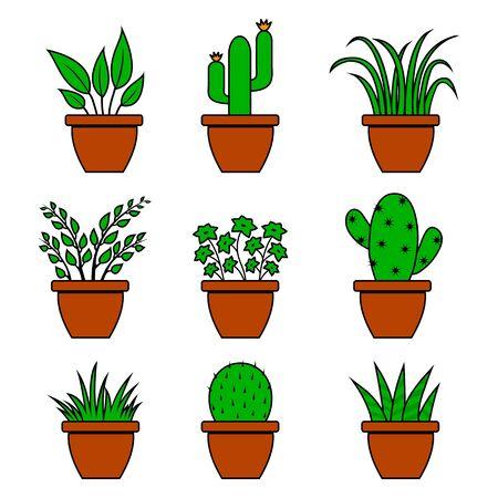 Green set of houseplants in pots, indoor flowers. Vector illustration Çizim