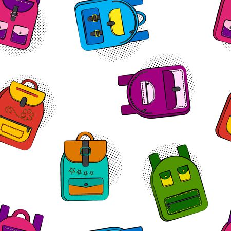 Bright seamless pattern with colorful comic school backpacks isolated on white background, halftone shadow in pop art style. Vector illustration  イラスト・ベクター素材