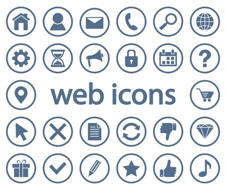 Monochrome set of round web icons. Vector illustration  イラスト・ベクター素材