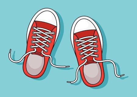 Red sneakers with shadow on blue background. Vector illustration Çizim