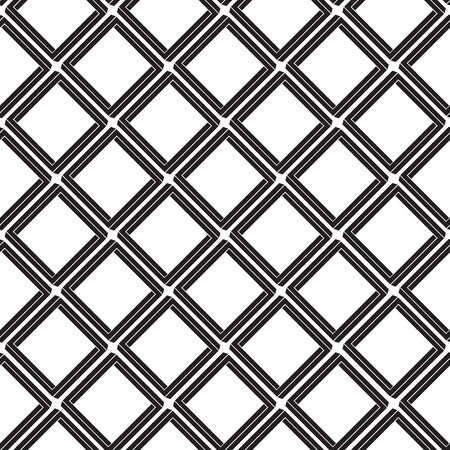 Geometric seamless pattern with rhombuses, tile background, black and white design. Vector illustration