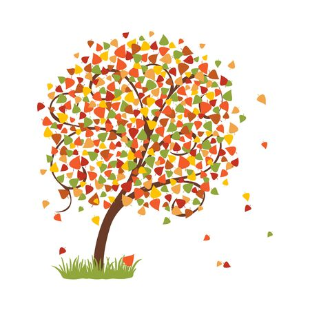 Bright autumn tree with colorful falling leaves. Vector illustration