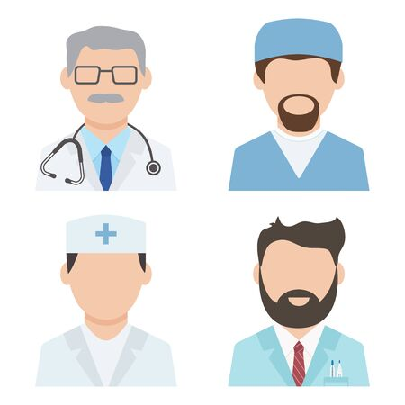 Set of medical workers, health professional avatars, medical staff, doctor icons. Vector illustration 일러스트