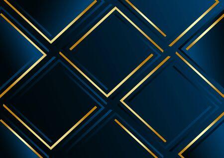 Modern dark blue geometric background with golden lines. Vector illustration