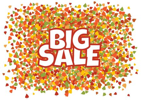 Big sale. White inscription on autumn banner with colorful different leaves. Vector illustration Çizim