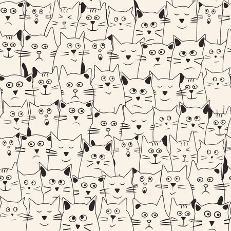 Funny seamless pattern with cartoon cats hand drawn with differents emotions. Vector illustration