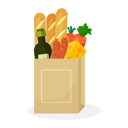 Paper package with products. Baguette bread, cheese, olive oil, carrots and sausages. Vector illustration Çizim
