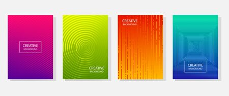 Colorful set of abstract dynamic modern bright banners with different texture, template cover design. Space for your text with geometric patterns. Colored halftone gradient. Vector illustration Çizim