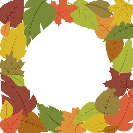 Decorative seasonal frame with different colorful autumn leaves, space fot your text. Vector illustration Çizim