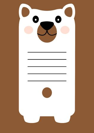 Greeting card with cartoon character bear, space for your text. Notes for children. Vector illustration