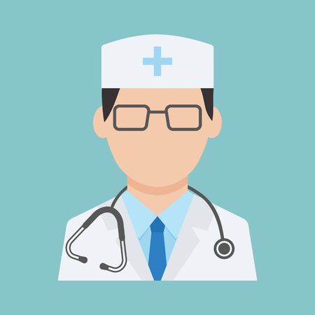 Medical worker with stethoscope, health professional avatar, medical staff, doctor icon on blue background. Vector illustration