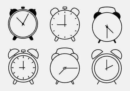 Set of alarm clock icons, outline design. Vector illustration