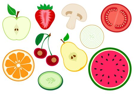 Set of half fruits and vegetables. Apple, strawberry, mushroom, tomato, onion, pear, cherry, orange citrus, cucumber, watermelon. Vector illustration Фото со стока - 129709413