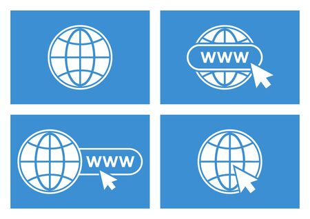 Set of website icons. White globe with pointer on blue background. Vector illustration Фото со стока - 129709414