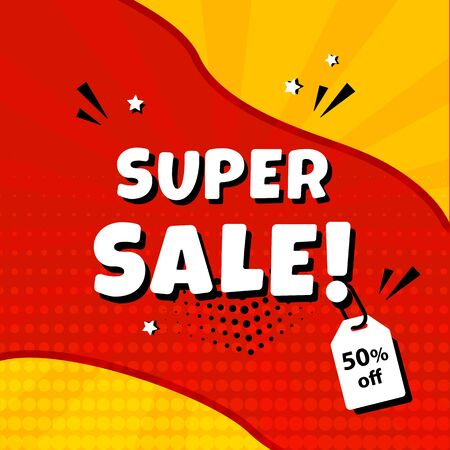 Super sale. Template banner promotion with price tag, discount. Comic sound effects in pop art style. Vector illustration Çizim