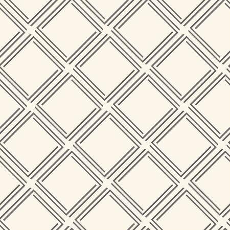 Geometric seamless pattern with rhombuses, dark thin line on pastel background, retro style. Vector illustration Çizim