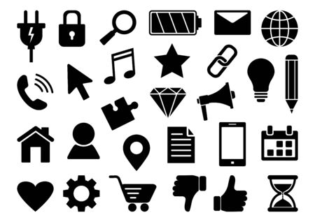 Black set of business web icons isolated on white background. Vector illustration