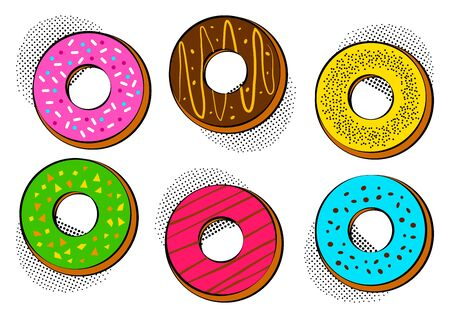 Colorful different sweet glazed donuts with halftone shadow in pop art style. Vector illustration Ilustração