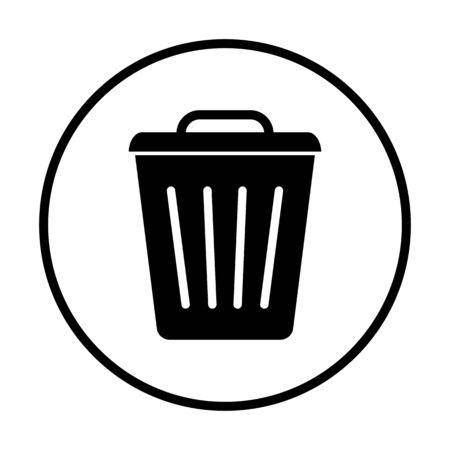 Garbage, trash basket icon, symbol delete, bin sign. Vector illustration