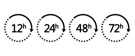 12, 24, 48 and 72 hours clock arrows. Set of black icons work time or delivery service time. Vector illustration Иллюстрация