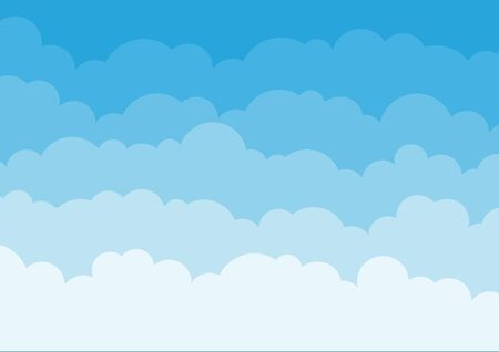 Blue sky background with clouds. Vector illustration Çizim