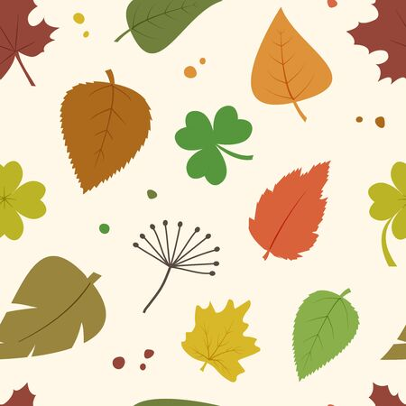 Decorative seamless pattern with autumn different colorful leaves. Vector illustration Illustration