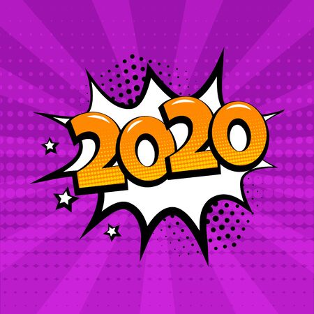 White comic bubble with 2020 word on purple background. Comic sound effects in pop art style. Vector illustration.