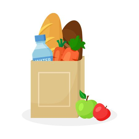 Paper package with products. Wheat and rye bread loaf, carrots, bottle of water and apples. Vector illustration